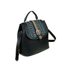 Silver & Crystal Studded Aztec Pattern Concealed Carry Satchel Purse Montana West - carriesherself.com