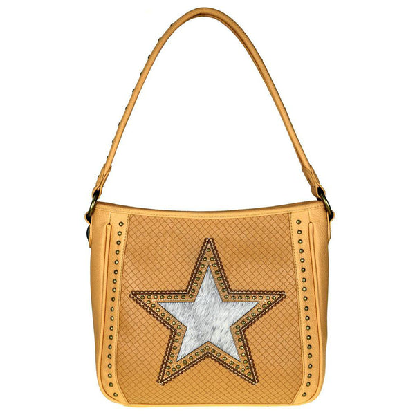 Hair-on Leather Lone Star Cut-out Concealed Carry Hobo Purse MW511G-121 - carriesherself.com