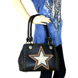 Hair-on Leather Lone Star Cut-out Concealed Carry Satchel Purse MW511G-8392 - carriesherself.com