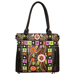 70's Style Floral Embroidered Concealed Carry Tote/Crossbody Purse MW552G-8263 - carriesherself.com