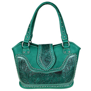 Montana West Concealed Carry Handbag w/ Leather Tooling - carriesherself.com