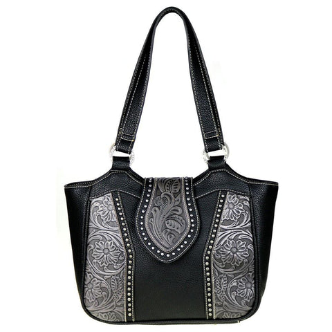 Trinity Ranch Concealed Carry Tote Bag w/ Tooled Leather Floral Accents - carriesherself.com