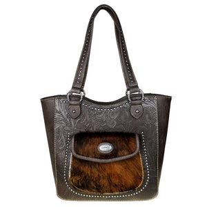 Trinity Ranch Concealed Carry Tote Bag Cowhide Leather Pocket - carriesherself.com