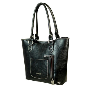 Leather Floral & Basketweave Tooled Concealed Carry Tote Bag TR41G-8304 - carriesherself.com