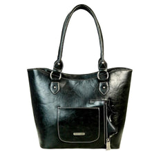 Leather Floral & Basketweave Tooled Concealed Carry Tote Bag TR41G-8304