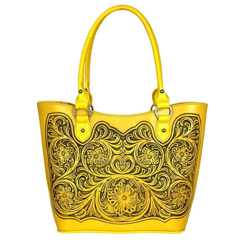 TR42G-8304 Trinity Ranch Tooled Leather Collection Concealed Handgun Tote-Yellow - carriesherself.com