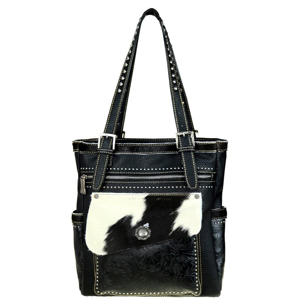 Tooled Hair-On Leather Concealed Carry Tote Bag Trinity Ranch Collection - carriesherself.com