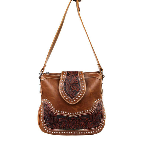 Western Concealed Carry Messenger Bag w/ Leather Tooling - carriesherself.com