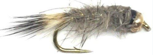 Feeder Creek Hare's Ear Natural Bead Head Nymph - 12 Flies - 3 Size Assortment 12,14,16 - Feeder Creek