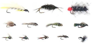 Feeder Creek Fly Fishing Assortment - One Dozen -  12 Patterns - Nymph, Streamers, Helgrammite, More - Feeder Creek