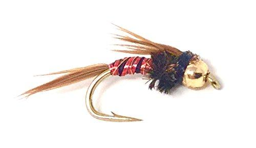 Fly Fishing Nymph Flies for Trout - One Dozen Bead Head Lightning Bug Wet Flies - 3 Sizes - Feeder Creek