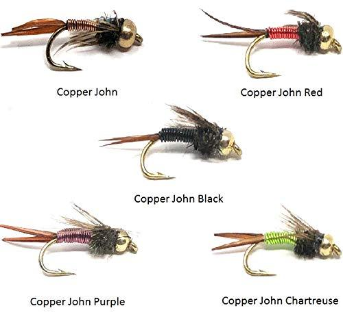 Feeder Creek Fly Fishing Assortment - 20 Copper John Flies in 5 Colors and 4 Sizes 12,14,16,18