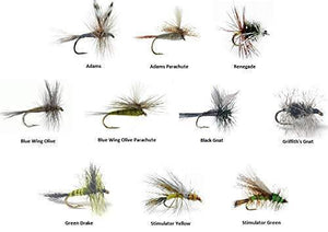 Dry Fly Assortment - 60 Flies in 10 Patterns Sizes 14-18 (Adams, Blue Wing Olive, Stimulator, Drake and More)