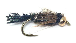 Feeder Creek Fly Fishing Trout Flies - BEAD HEAD ZUG BUG NYMPH - One Dozen Flies - 4 Sizes - Feeder Creek