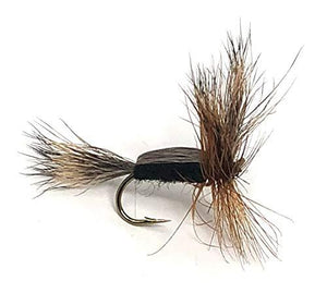 Feeder Creek Fly Fishing Assortment - Two Dozen Flies in 6 Trout Crushing Patterns of Dry Flies (Griffith's Gnat, Grey Ugly, Black Gnat, Black Humpy, Bivisible Black, Stimulator Black) Sizes 12-14