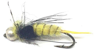 Feeder Creek Fly Fishing Flies - Bead Head STONEFLY Yellow - 12 Wet Flies - 3 Sizes 10,12,14 - Feeder Creek