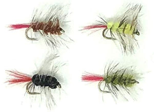 Fly Fishing Wooly Worm Assortment Wet Streamer Flies - 24 Hand Tied Worms Black, Yellow, Green, and Brown