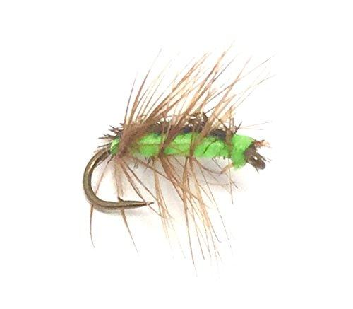 Fly Fishing Flies Assortment - Crackleback Midge Green - 15 Midge Flies - 5 Size Assortment - Feeder Creek