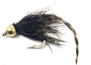 Feeder Creek Fly Fishing Trout Flies - Wet Caddis Mayfly Bead Head with Hackle - 12 Flies - 3 Sizes - Feeder Creek