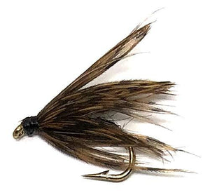 Feeder Creek Fly Fishing Trout Flies - Soft Hackle Black- 12 Wet Flies - 3 Sizes - Feeder Creek