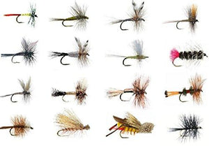 Feeder Creek Fly Fishing Assortment - Wet and Dry Flies for Trout Fishing - 16 Patterns (3 of Each) - Feeder Creek