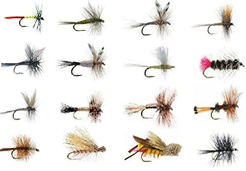 Fly Fishing Lures Wet and Dry Assortment for Trout Fishing and Other Freshwater Fish - 16 / 32 / 48 / 64 - 16 Patterns of Adams, Mayflies, Attractors, Worm, Hopper and More - Feeder Creek - Feeder Creek