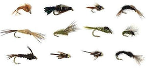 Feeder Creek Fly Fishing Assortment - 36 Nymphs and Emergers - 12 Patterns - Feeder Creek