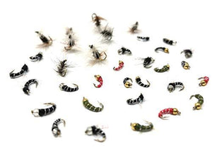 Midge Fly Assortment - 32 Flies - Size 18, 20 (2 of Each Size)  Includes Zebra, UV, Top Secret, Mercury, and More