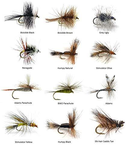 Dry Fly Assortment - 48 Flies in 12 Trout Crushing Patterns - Sizes 12-14