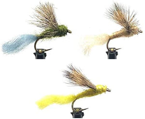 Feeder Creek Fly Fishing Trout Flies - Sparkle Dunn Assortment - 36 Wet Flies - 3 Size Assortment 14, 16, 18 (4 of Each Size) Olive, Yellow, and Tan