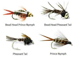 Nymph Fly Fishing Trout Flies - 48 Wet Flies - 4 Size Assortment 12,14,16,18 (3 of Each Size) Prince, Bead Head Prince, Pheasant Tail, and Bead Head Pheasant Tail