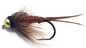 Feeder Creek Brown Bead Head Stonefly Nymph Flies - One Dozen - 3 Sizes 12,14,16 (4 of Each) - Feeder Creek