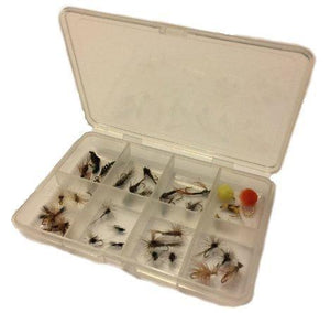 Fly Fishing Lures Set with Pocket Size Fly Box - Wet and Dry Variety for Trout and Freshwater Fish - 16 Patterns - Nymph, Emerger, Egg, Adams, Gnat, Caddis, Trico, Humpy and More - Feeder Creek