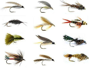 Fly Fishing Lures Set - Wet and Dry Variety for Trout and Freshwater Fish - 12 Patterns - Feeder Creek