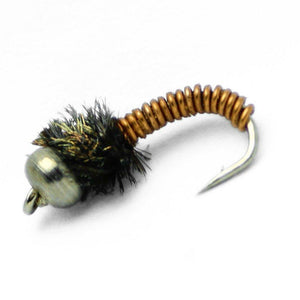 Feeder Creek Bead Head Brassie Nymph - One Dozen - 3 Size Assortment 14,16,18 (4 of Each) - Feeder Creek
