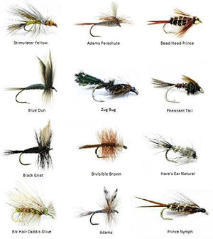 Feeder Creek Fly Fishing Lures - 72 Hand Tied Fishing Flies (6 Dozen) - 12 Patterns - Feeder Creek
