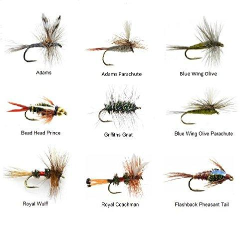 Fly Fishing Flies - 108 Popular Dry and Wet Flies - 9 Patterns in 4 Sizes - Bead Head, Adams, More - Feeder Creek