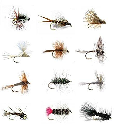 Feeder Creek Fly Fishing Flies Assortment - Set of 36 Hand Tied Fishing Flies - 12 Patterns - Feeder Creek