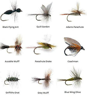 Feeder Creek Fly Fishing Flies Assortment for Trout Fishing and Other Freshwater Fish - 36 Dry Flies - 18 Patterns - Feeder Creek