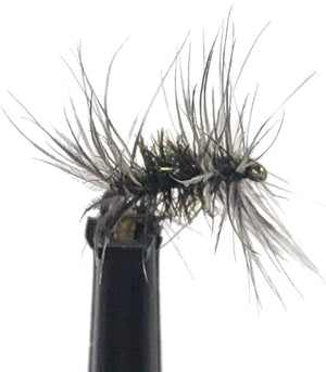 Feeder Creek Fly Fishing Assortment Grey Ugly Dry Flies - One Dozen for Trout and Other Freshwater Fish - Hand Tied Sizes 14, 16, 18, 20 (3 of Each Size)