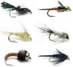 Feeder Creek Flies - 18 CLASSIC NYMPHS - 6 Famous Nymph Patterns Sizes 12-16 - Feeder Creek