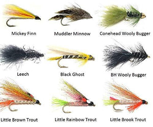 Feeder Creek Fly Fishing Trout Flies -9 Popular Streamer Patterns in Many Colors- 27 Wet Flies - Wooly Bugger, Muddler, Conehead, Trout, and More