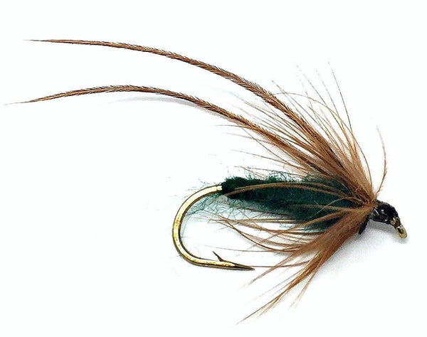 Feeder Creek Fly Fishing Trout Flies - Caddis Mayfly Green Wet Fly Soft Hackle -Three Sizes 14,16,18 - Feeder Creek