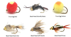 Fly Fishing Assortment - 18 Flies in 6 Patterns with Fly Box