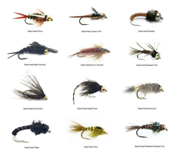 Fly Fishing Trout Flies - Bead Head Nymph Assortment - 72 Wet Flies in 12 Patterns - 3 Size Assortment 12,14,16 (2 of Each Size) - Feeder Creek
