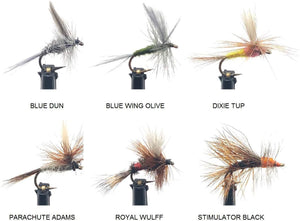 Feeder Creek Fly Fishing Assortment - 18 Dry Flies in 6 Patterns in Size14 with Fly Box (Adams, BWO, Wulff, Dun, and More)