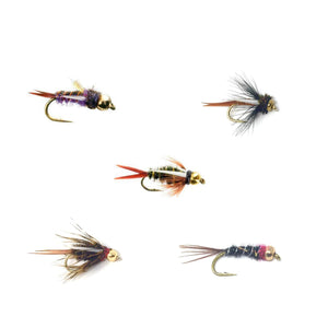 Feeder Creek Fly Fishing Trout Flies - Bead Head Prince Nymph Assortment - 5 Patterns in 3 Sizes - Prince, Montana, Electric, King, Purple, and Psycho (30 Flies)