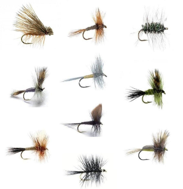 Fly Fishing Flies Set of 30 Dry Flies for Trout and Freshwater Fish - 10 Patterns - Feeder Creek