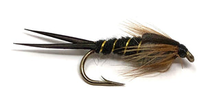 Feeder Creek Fly Fishing Flies - One Dozen Stonefly Nymphs - Black or Brown - Sizes 10-16