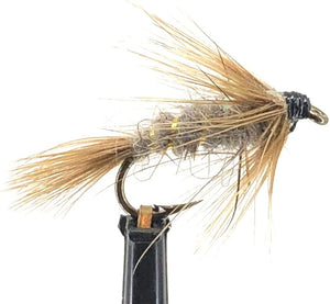 Feeder Creek Fly Fishing Flies - One Dozen - Flashback Calibaetis Nymph Fly for Trout and Other Freshwater Fish (14, Tan)